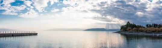 Sunset on Lake Kinneret near the town of Tiberias. Israel Royalty Free Stock Photo