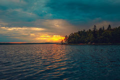 Sunset on Lake Ladoga. Sunset on the Lake Ladoga Stock Photos
