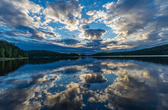Sunset on Lake Ladoga reflected in the water. Royalty Free Stock Photo