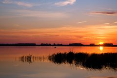 Sunset lake landscape. Royalty Free Stock Photos