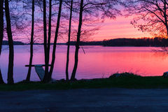 Sunset on a lake landscape with trees Stock Image