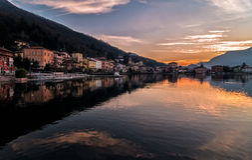 Sunset at the Lake Lugano Royalty Free Stock Image