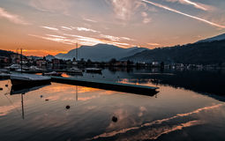 Sunset at the Lake Lugano Stock Photography