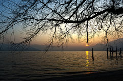 Sunset on the Lake Major, Italy Royalty Free Stock Photo