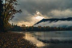 Sunset at Lake McDonald after a storm. Royalty Free Stock Photos