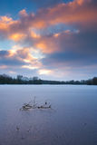 Sunset by lake Meinerswijk in Arnhem during winter. Stock Photo