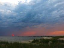 Sunset at lake in Michigan, horizontal Royalty Free Stock Photo