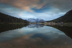 Sunset Lake Misurina Royalty Free Stock Photography