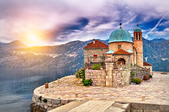 Sunset on the lake in Montenegro Royalty Free Stock Photography