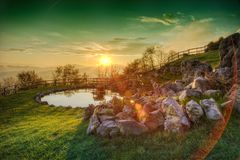 Sunset on a lake Royalty Free Stock Photos