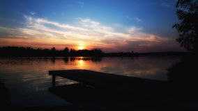 Sunset at the  lake Murner See. In Wackersdorf, Bavaria Royalty Free Stock Photography