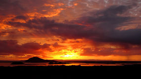 Sunset Lake Myvatn royalty free stock images