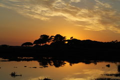 Sunset Lake. Sunset na Quinta do Lago, Portugal Royalty Free Stock Photo