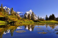 Sunset at a lake near Grindelwald in switzerland Royalty Free Stock Photo
