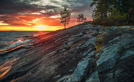 Sunset on Lake Onega in Karelia Stock Images