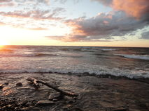 Sunset at lake Ontario in Oswego, NY Royalty Free Stock Photos