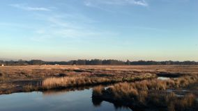 Sunset on a lake. Panoramic view of sunset on Ria de Aveiro, Ovar, Portugal stock video footage