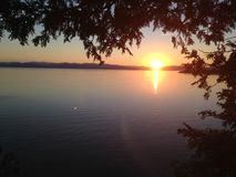 Sunset on the lake Royalty Free Stock Photo
