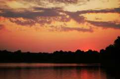 Sunset at the lake. Pink sunset at the lake Stock Images