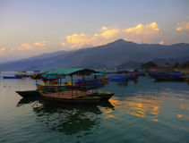 Sunset Lake Pokhara Himalayas Nepal Royalty Free Stock Image