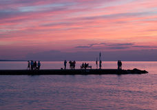 Sunset at the Lake. At the Port Dalhousie Pier stock images