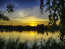 Sunset on the lake Pucher Meer Royalty Free Stock Images