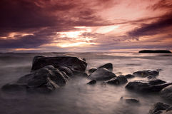 Sunset on Lake Pyhaselka Royalty Free Stock Images