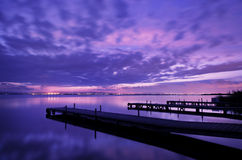 After sunset lake reflects Royalty Free Stock Image