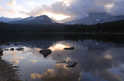 Sunset at a lake in Rocky Mountains Royalty Free Stock Photo