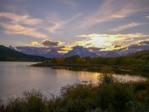 sunset at a lake in the rocky mountains royalty free stock image