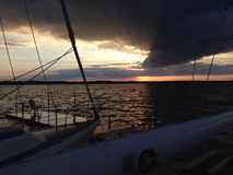 Sunset Lake Scugog. Sailing on lake Scugog stock photos