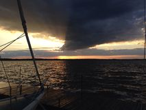 Sunset Lake Scugog. Sailing on lake Scugog stock photography