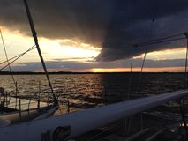 Sunset Lake Scugog. Sailing on lake Scugog royalty free stock photo