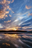 Sunset on the lake. Spring, Karelia. Elm lake Stock Photography
