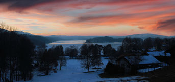 Sunset at lake staffelsee in winter Stock Photo