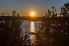 Sunset at the Lake, Steinberger See, Bavaria Stock Images