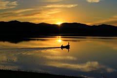 Sunset lake in summer royalty free stock photo