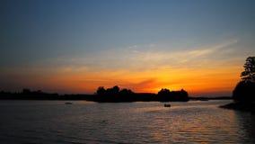 Sunset on lake stock video