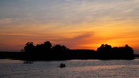 Sunset on lake. Sunset on summer lake. real time stock video