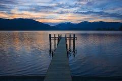 Sunset Lake Te Anau Stock Images