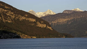Sunset at Lake Thun with Eiger, Moench, Jungfrau Stock Photography