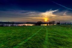Sunset: Lake and trees Landscape Photo! royalty free stock photography