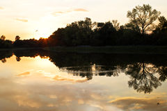 Sunset on the lake. Trees reflected in the water.  Evening on th Royalty Free Stock Photos