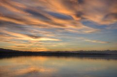 Sunset, Lake of Varese - Italy. Shades and colors of a sunset on Varese's lake in winter stock photos