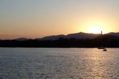 The sunset lake. Lake,lake view, the setting sun ,ship mountain stock photo