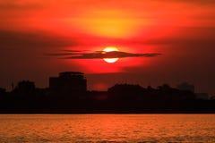Sunset on the lake. Sunset at the West lake, Ha Noi, Vietnam Royalty Free Stock Photos