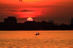 Sunset on the lake. Sunset at the West lake, Ha Noi, Vietnam Stock Photos
