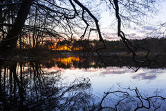 Sunset at the lake in winter Royalty Free Stock Photo