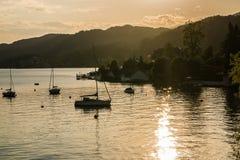 Sunset at Lake Wörth Royalty Free Stock Images