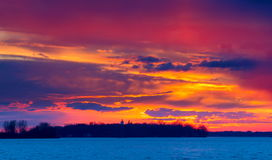 Sunset on the Lakeshore Dorval Quebec. royalty free stock images